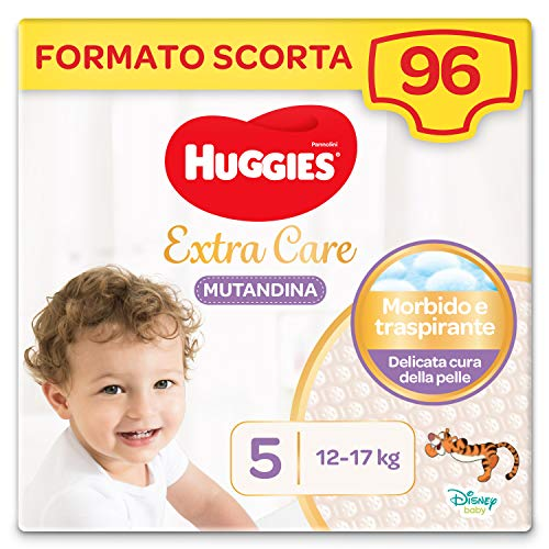 HUGGIES Extra Care Pannolino Mutandina Taglia 5 (12-17 Kg), Confezione da 96 (4 x 24)