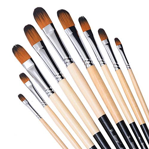 Artist Filbert Paint Brushes Set,9 Pcs Professional Painting Kits with Long Handle Soft Nylon Hair Filbert Brushes for Acrylic Oil Watercolor Gouache