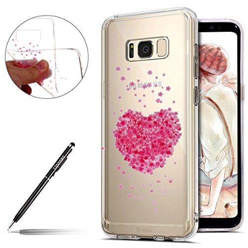 Uposao Kompatibel mit Hülle Galaxy S8 Silikon Handyhüllen Schöne Blumen Muster Durchsichtige Ultradünn Schutzhülle Transparent Silikon Bumper Clear Backcover,Liebe Herzen