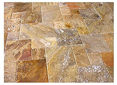 Scabos Travertine Versailles / Ashlar Pattern Tiles, Unfilled / Brushed & Chiseled