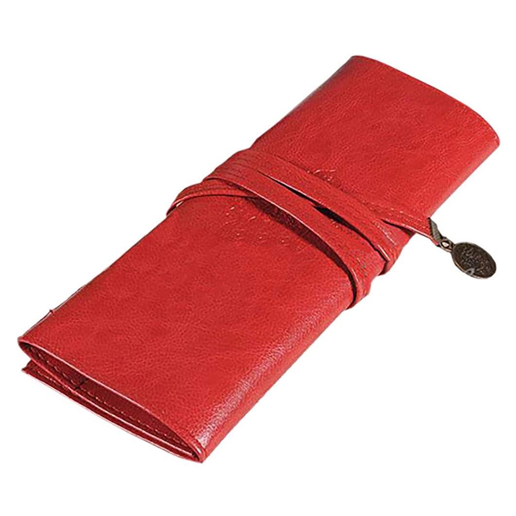 報酬の取り除く病レトロメイクブラシメイクブラシホルダーローリングバッグ化粧品袋の主催ポータブル革ペンケース文房具旅行用(赤)
