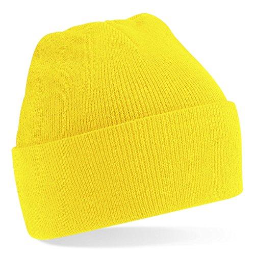 Beechfield, Acryl-Strickmütze für Erwachsene, zum Aufschlagen, Unisex Einheitsgröße gelb