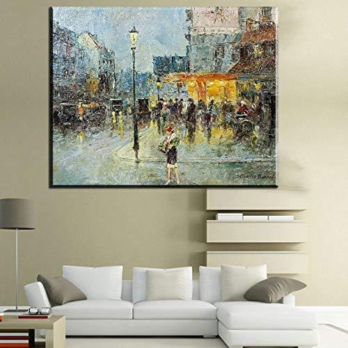 Abstrakte Leinwand Ölgemälde Stadt Kunst Landschaft drucken Leinwand Poster architektonische rahmenlose Malerei 60X90cm
