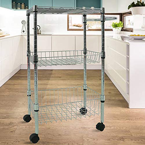 3 Tier Kitchen Utility Cart Height Adjustable Metal Wire Rolling Cart with Baskets and Removable Board Organizer Storage Shelf Rack Steel Shelving Trolley on Wheels for Kitchen Laundry Bathroom Office