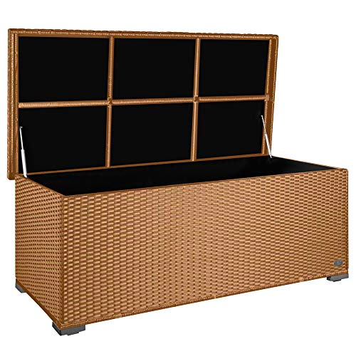 PREMIUM 'Sienna' 650l Polyrattan Garten Kissenbox wetterfest (regnet nicht rein) 155 x 73 x 60 cm, Auflagenbox mit verstärktem Deckel und Gasdruckfedern, als Sitztruhe oder Tischplatte, Natur