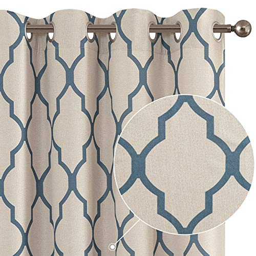 Curtains Living Room Darkening Drapes Bedroom Linen Textured Window Treatment Panels 84 inch Long One Panel Blue on Beige