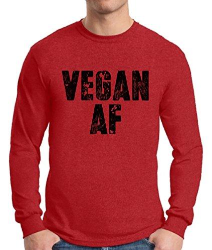 Awkward Styles Men's Vegan AF Long Sleeve T Shirt Tee Vegan Long Sleeve T Shirt Tee Red L