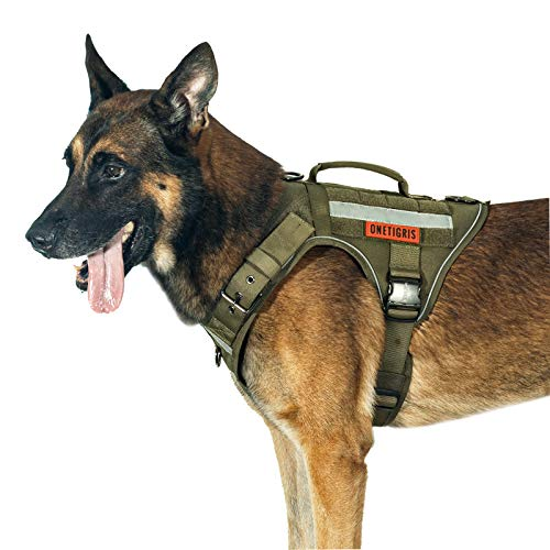 Tactical Dog Harness No Pulling Adjustable Pet Harness Reflective K9 Working Training Pet Vest Military Service Dog Harness Easy Control for Medium Large Dogs(Ranger Green,L)
