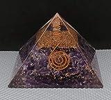 Generico Pirámide de orgonita amatista con potente bobina de cobre curativo para protección EMF y decoración/regalos para el hogar oficina (Piramida de cristal de organita, 3 pulgadas)