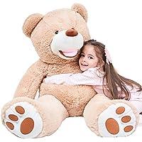 IKASA Teddy Bear Gigante con Grandes Huellas Juguete de Peluche Suave Animal de Peluche (Marrón, 100cm)