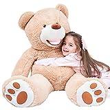 IKASA Ours Teddy Géant avec Grandes Empreintes de Pas Peluche Doux Jouet Bien Rempli (Marron, 100cm)