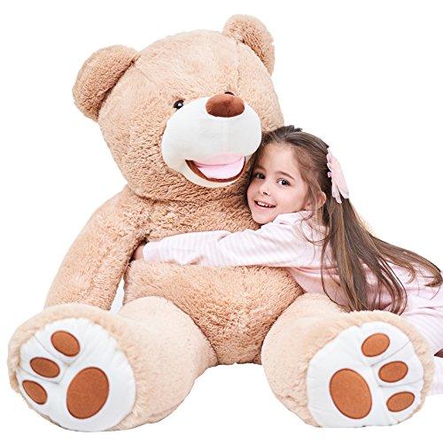IKASA Giant Teddybär mit großen Fußabdrücken Weiches Plüschspielzeug Stofftiere (Braun, 100cm)