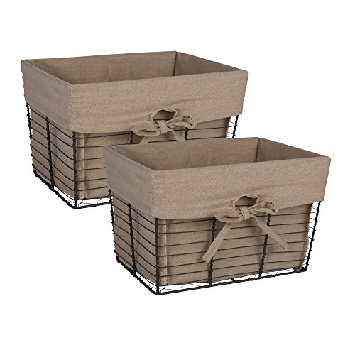 DII Vintage Grey Wire Baskets for Storage Removable Fabric Liner, Set of 2, Taupe 2 Piece