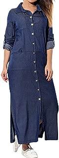 Denim T-Shirt Dress Long Sleeve Maxi Dresses for Women Plus Size with Pockets