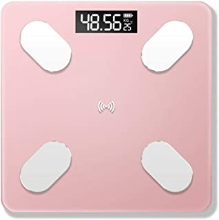 Básculas Digitales De Baño Body Fat Scale Floor Scientific Smart Electronic Digital Weight Scale Balance Bluetooth App Android O Ios Con Batería De Litio Rosa