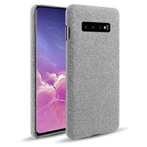 Oihxse Business Housse Case Compatible pour Samsung Galaxy S10 5G Coque en Tissu Toile Full Protection Étui Ultra Mince Léger Anti-Slip Antichoc Antifouling Hybride Cover,Gris