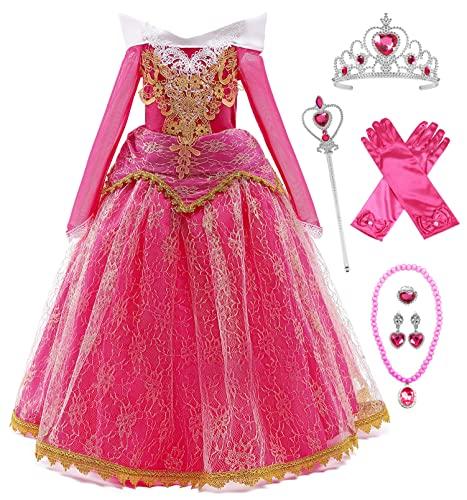 YOSICIL Vestito da principessa Bambini Aurora Princess Luxury Sleeping Forest Beauty Carnevale Lunga Manica Tulle Cosplay Festa Nuziale Compleanno Abito per Ragazze con Accessori