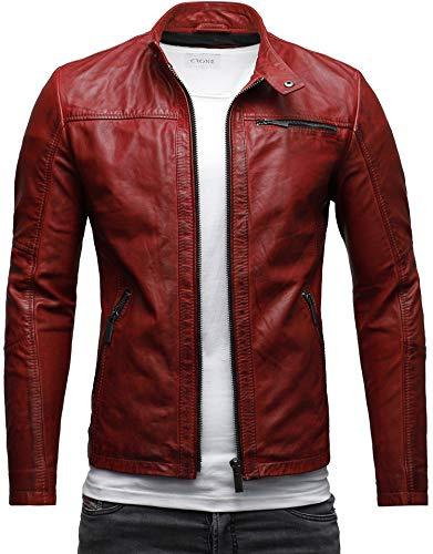 Crone Epic Herren Lederjacke Cleane Basic Jacke Rindsleder (M, Heavy Washed Rot)