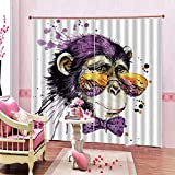N/W Cortina Opaca Dormitorio Infantil Bebe Niño Niña - Efecto De Impresión 3D Mr.Mono con Gafas - H215 X W260 Cm
