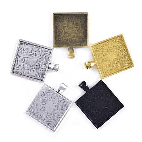 DROLE 60Pcs Diamond Shape Cabochon and Tray Set-30Pcs Rhombus Cabochon Settings with 30Pcs 20mm Square Glass Cabochon Pendant Frames for Jewelry Making Black