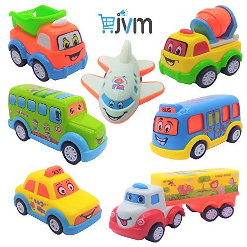 JVM Unbreakable Pull Back Car Toys Automobile Car Set for Kids - Set of 7