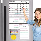 3 Sets Dry Erase Calendar Whiteboard, Magnetic Calendars for Refrigerator Monthly, Weekly, Daily Fridge Notepad, Erasable Magnet Family Calendars White Board for Wall 2021, 4 Fine Markers and 1 Eraser
