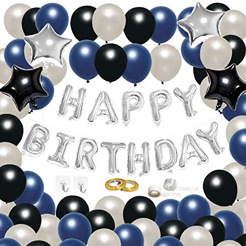 CiciBear 71 Pcs Navy Blue Themed Birthday Decoration Balloons Kit, Silver Banner: Happy+Birthday Letter Balloons, Pearl Latex Balloons, Foil Star Balloons with Accessories for Party Supplies