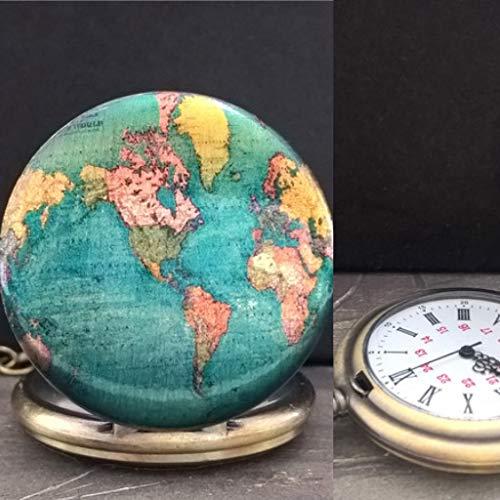 Taschenuhr Weltkarte FARBEN