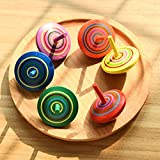 DAWEIF 3Pcs Handmade Painted Wood Spinning Tops Kids Novelty Wooden Colorful Gyroscopes Toy Kindergarten Education Toys