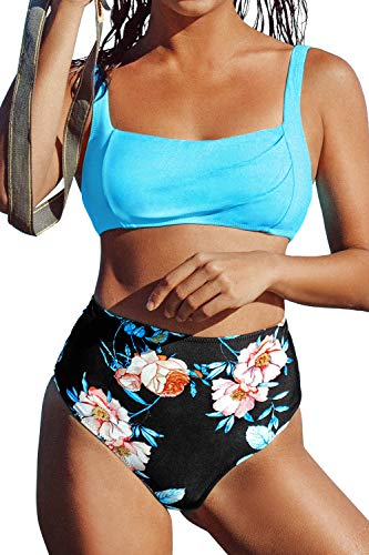 CUPSHE Women's High Waisted Blue Floral Wide Straps Bikini Swimsuit Sets, XS