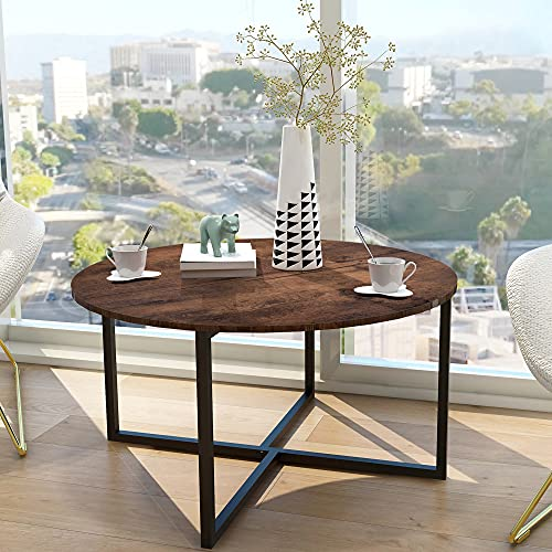 Round Coffee Table Kitchen Dining Table Modern Leisure Tea Table Office Conference Pedestal Desk Computer Study Desk Rustic Brown/Black