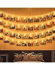 Zorara Led-lichtsnoer met klemmen voor foto's, 6 m, 40 leds, fotoclips, fotoverlichting, ketting, clip, afbeeldingen, warmwit, werkt op batterijen