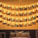 LED Lichterkette mit Klammern für Fotos, Zorara 6M 40 LED Foto Clip Lichterkette Fotolichter Kette Clip Bilder Lichterketten Warmweiß Batteriebetrieben Bilderrahmen Dekoration für Zimmer