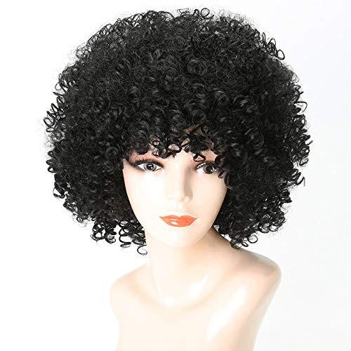 SEXYY Sexy Perruques de petit rouleau brun 12in Cheveux Perruques pour femme noire,Afro résistant à la chaleur Perruque pleine crépée