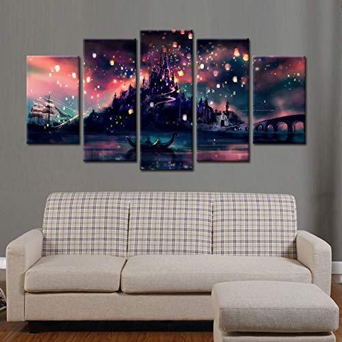 ZEMER 5 Panels Wand Kunst Harry Potter Hogwarts Schloss Leinwanddrucke Gemälde Für Hauptdekorationen Geschenk,A,L