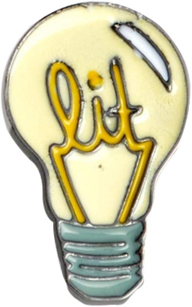 ink2055 Cute Cartoon Light Bulb Brooch Pin Badge Shirt Jeans Bag Backpack Scarf Decor Unisex Jewelry - Yellow