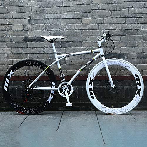 AURALLL City Bike Urban Series Vélos de Route Haute en Acier au Carbone Vélo de Route à Double Disque de Frein pour Les Courses, Routes, Voyages, Cyclisme Courses, navettage,Blanc
