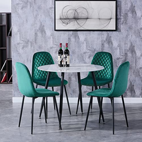 GOLDFAN Round Marble Dining Table and 4 Chairs Set Modern Kitchen Table and Velvet Padded Chairs Dining Room Set, 90CM/Green