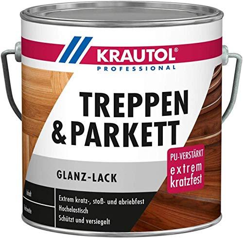 Krautol Treppen- und Parkettlack glänzend, extrem kratz-, stoß- und abriebfester Acryl-Lack, farblos, 2,5 Liter