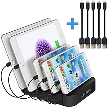 Noir JZBRAIN Station de Charge pour Multiples Appareils Chargeur USB Multi-Ports Compatible avec Le T/él/éphone Portable et Les Tablettes IPhone IPad