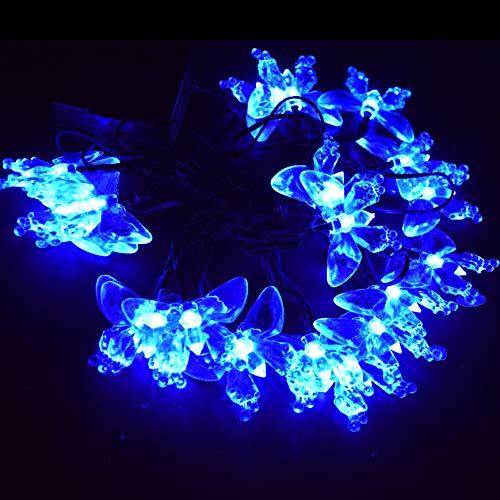 M.best Solar String Lights Outdoor-Waterproof 23Ft 50 LED Solar Butterfly Lights for Porch Market Backyard Patio Party Wedding Gazebo Outdoor Decorative Lights (Blue)