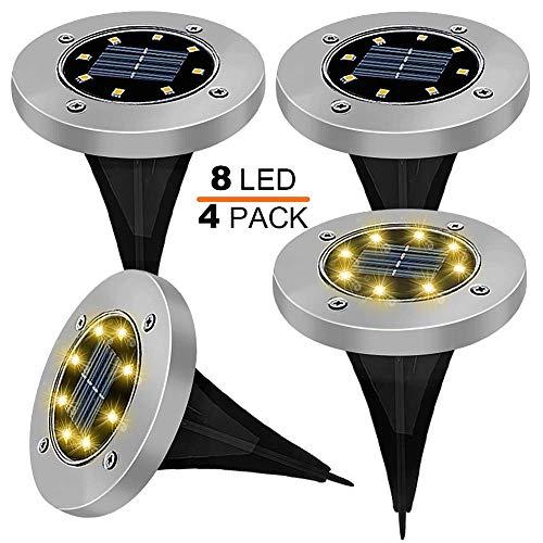 Solar-Lampen, IP65, wasserdicht, für den Außenbereich, mit 8 LED-Lichtern, 100 cm, integrierte Batterie, Solar-Garten, Garten, Gelände, Landschaft, Straßen, Auffahrt, Lichter