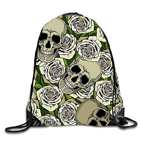 uykjuykj Bolsos De Gimnasio,Mochilas,Pineapple Pink Sackpack Drawstring Backpack Waterproof Gymsack Daypack For Men Women White Rose Skull2 Lightweight Unique 17x14 IN