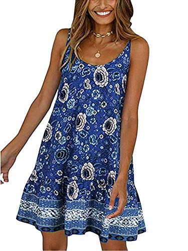Womens Summer Beach Dress - Floral Sleeveless Deep V Neck Ruffle Spaghetti Strap Flowy