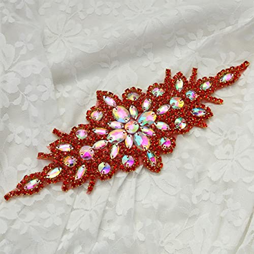 1 pieza Base plateada Crystal Clear Color DIY Vestido de noche de boda Prom de alta calidad Costura en diamantes de imitación Vestido de novia Apliques 6
