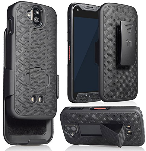 DuraForce Pro Clip Case, Nakedcellphone's Black Kickstand Case + Belt Clip Holster for Kyocera Duraforce Pro (E6810, E6820, E6830, E6833, E6800) (AT&T, Sprint, Verizon, etc)