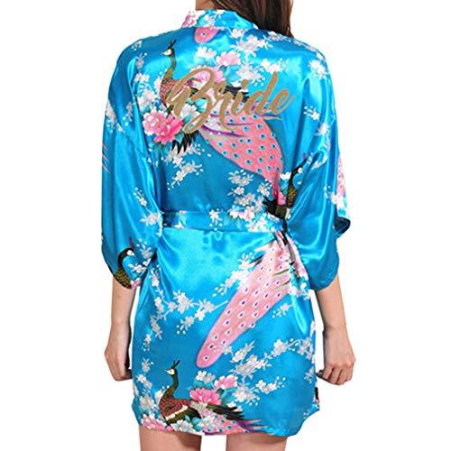 Yying Frauen Silk Satin Nacht Robe Kurze Hochzeit Braut Roben Floral Peacock Kimono Robe Sexy Bademantel Morgenmantel
