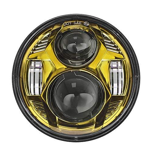 SOWBAY Faro Redondo de la Motocicleta 5D 5.75 '' Lámparas de conducción LED/Ajuste para Harley 883 Iron Sportster 5 3/4 Pulgadas Proyector Negro Faro de Motor (Color : 1pcs Yellow)