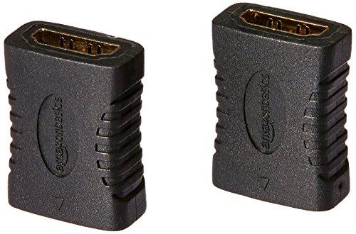 AmazonBasics HDMI Female to Female Coupler Adapter (2 Pack), 29 x 22mm, Black