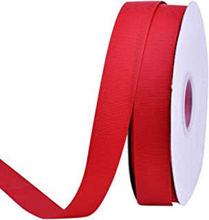 Ribest 1 inch 50 Yards Solid Grosgrain Ribbon Per Roll for DIY Hair Accessories Scrapbooking Gift Packaging Party Decoration Wedding Flowers Red
